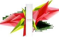 Colorful blooming crystals vector abstract background. Glass transparent effect shiny 3d triangular forms Stock Image
