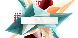 Colorful blooming crystals vector abstract background. Glass transparent effect shiny 3d triangular forms Vector Illustration