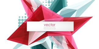 Colorful blooming crystals vector abstract background. Glass transparent effect shiny 3d triangular forms Royalty Free Illustration