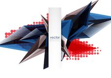 Colorful blooming crystals vector abstract background. Glass transparent effect shiny 3d triangular forms Stock Photo
