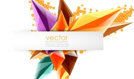 Colorful blooming crystals vector abstract background. Glass transparent effect shiny 3d triangular forms Stock Photos