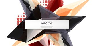 Colorful blooming crystals vector abstract background. Glass transparent effect shiny 3d triangular forms Royalty Free Stock Photo