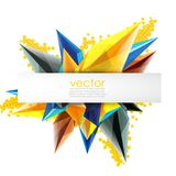 Colorful blooming crystals vector abstract background. Glass transparent effect shiny 3d triangular forms Royalty Free Stock Image