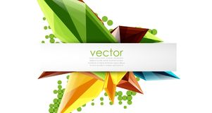 Colorful blooming crystals vector abstract background. Glass transparent effect shiny 3d triangular forms Stock Images