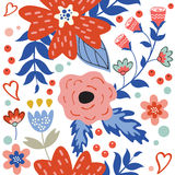 Colorful blooming flowers seamless pattern Royalty Free Stock Photo