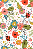Colorful blooming flowers seamless pattern Royalty Free Stock Images