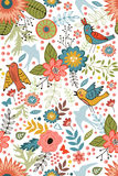 Colorful blooming flowers seamless pattern Stock Photos