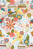 Colorful blooming flowers seamless pattern Stock Photo