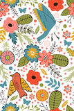Colorful blooming flowers seamless pattern Stock Images