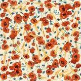 Colorful blooming poppies seamless pattern. Colorful blooming wild poppies on a dusty pink background Royalty Free Illustration
