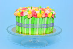 Colorful blooming roses bouquet cake Stock Image