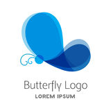 Colorful blue butterfly logo template. Royalty Free Stock Photo