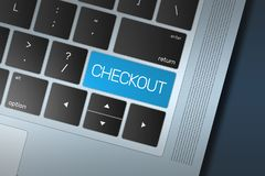 Blue Checkout Call to Action button on a black and silver keyboard. Colorful blue Checkout button on a black and silver keyboard concept. Selected focus on enter Royalty Free Stock Image