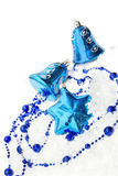 Colorful blue christmas decoration baubles. On white with space for text Stock Photography