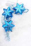 Colorful blue christmas decoration baubles on whit Royalty Free Stock Image