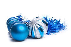 Colorful blue christmas decoration baubles on white with space f Royalty Free Stock Photos