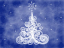 Colorful blue Christmas tree doodle drawn by acrylic paint, watercolor and pencil Royalty Free Stock Photography
