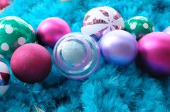 Colorful blue christmas tree ornaments. A photo taken on some baubles ornament balls decoration on a blue christmas tree Royalty Free Stock Photo