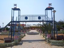 Kanyakumari, Tamil Nadu, India - October 7, 2008 Colorful blue color slide at children`s park. Colorful blue color slide at children`s park in at Tamil Annai royalty free stock images