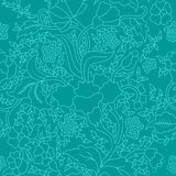 Colorful Blue East Asian Seamless Floral Pattern. Colorful Blue East Asian Seamless Repeating Floral Pattern Stock Images