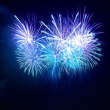 Colorful blue fireworks Stock Image