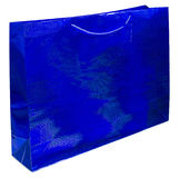 Colorful blue foil shopping bag Stock Photography