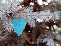 Colorful blue heart on St.Valentin`s Day Stock Image