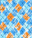 Colorful blue and orange grunge print argyle geometric checkered seamless pattern, vector stock illustration