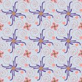 Colorful blue and pink decorative flourish and swirls seamless pattern tile royalty free illustration