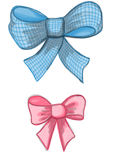 Colorful blue and pink rose bows drawn by pencil, watercolor and acrylic paint Stock Image
