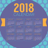 2018 Colorful Blue Purple Circle Pattern Printable Calendar Starts Sunday Stock Image