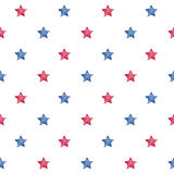 Colorful blue red and white stars seamless background. USA American flag colors pattern. National day holiday poster greeting card banner backdrop wrapping Stock Images