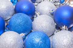 Colorful blue and silver christmas decoration balls Stock Photos