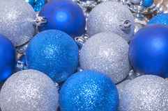 Colorful blue and silver  christmas decoration baubles Stock Photos