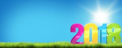 2018 colorful blue sky green grass 3D Render. Illustration Stock Image