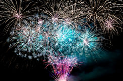 Colorful blue sparkling Fireworks Royalty Free Stock Photos
