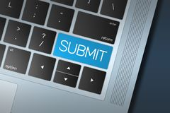 Blue Submit Call to Action button on a black and silver keyboard. Colorful blue Submit button on a black and silver keyboard concept. Selected focus on enter Royalty Free Stock Photo