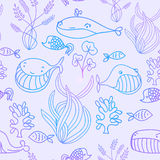 Colorful blue and violet oceanic sea seamless pattern with cute whale.  Stock Photography