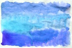 Colorful blue watercolor background for wallpaper. Aquarelle bri. Colorful blue watercolor wet brush paint liquid background for wallpaper. Aquarelle bright stock photo