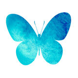 Colorful blue watercolor butterfly Stock Images