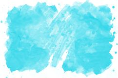 Colorful blue watercolor wet brush paint liquid background for wallpaper, card. Aquarelle bright color abstract hand drawn paper t. Exture backdrop vivid element stock photo