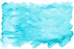 Colorful blue watercolor wet brush paint liquid background for wallpaper, card. Aquarelle bright color abstract hand drawn paper t. Exture backdrop vivid element royalty free stock images