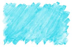 Colorful blue watercolor wet brush paint liquid background for wallpaper, card. Aquarelle bright color abstract hand drawn paper t. Exture backdrop vivid element stock photography