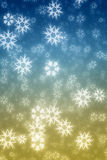 Colorful blue and yellow  snowflakes Stock Photo