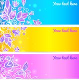 Colorful blue, yellow and violet flower banners Stock Photos