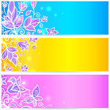 Colorful blue, yellow and violet flowers banners Stock Photos