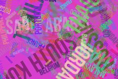 Colorful & blur city names word cloud vector illustration