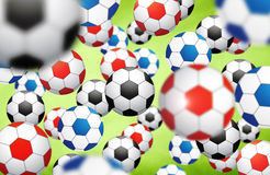 Colorful blurred soccer balls background Stock Images