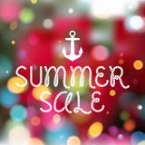 Colorful blurry background with anchor and rope. Style message - summer sale. Summer, spring holiday design Royalty Free Illustration