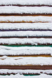 Colorful board covered with snow. Stock Photo